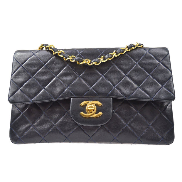 CHANEL Classic Double Flap Small Chain Shoulder Bag Navy