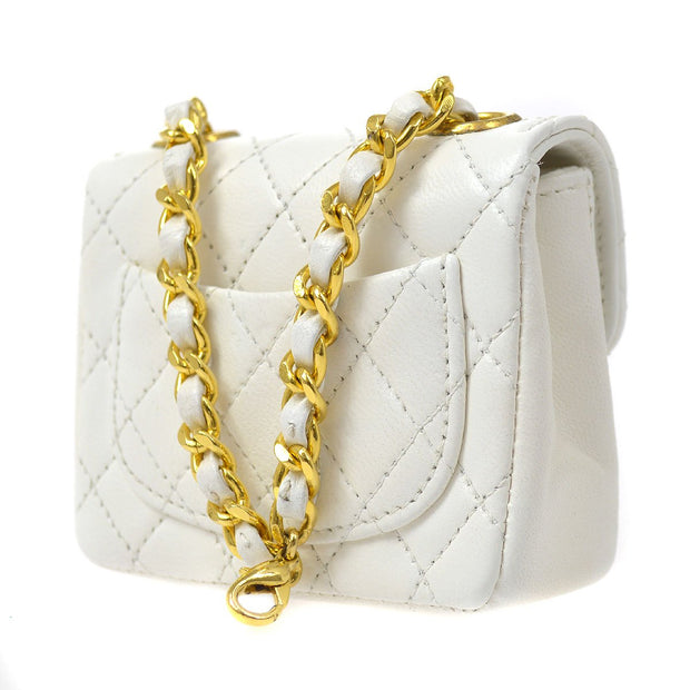 CHANEL Chain Mini Bum Bag Belt Pouch White