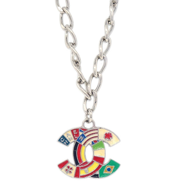 CHANEL National Flag Silver Chain Pendant Necklace 03A