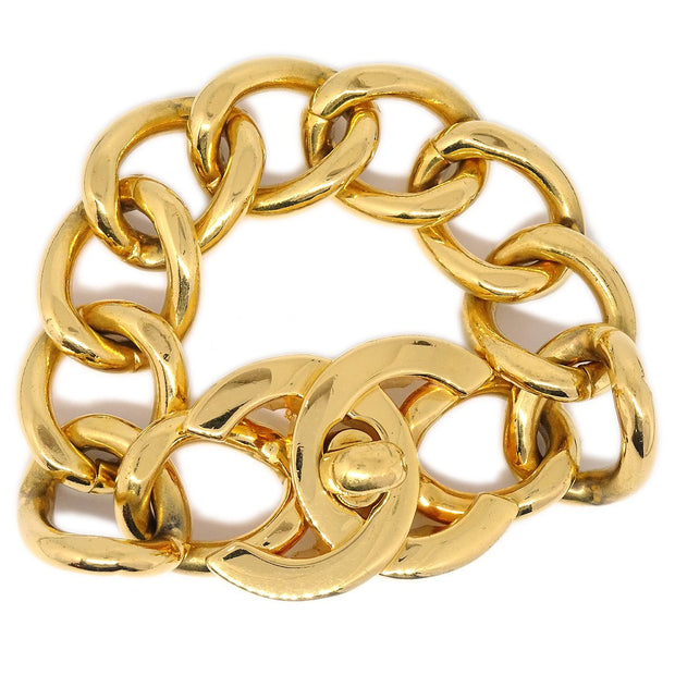 CHANEL Turnlock Gold Chain Bracelet 96P