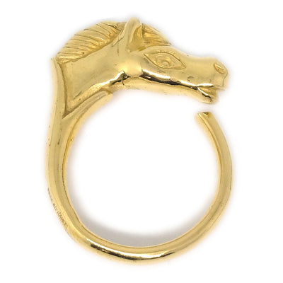 HERMES Horse Gold Ring Size 4.5