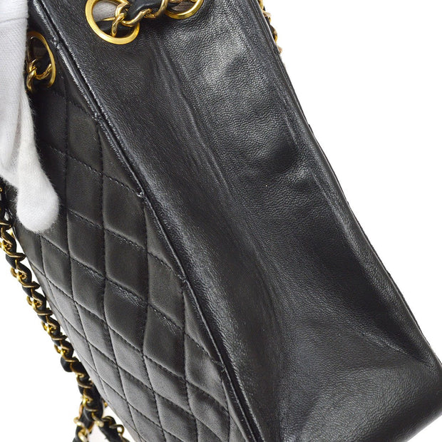 CHANEL Double Chain Shoulder Tote Bag Black