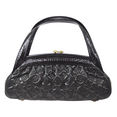 LOUIS VUITTON SAC FERMOIR MM HAND BAG BLACK MONOGRAM VIENNA