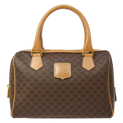 CELINE Macadam Pattern 2way Hand Shoulder Bag Brown