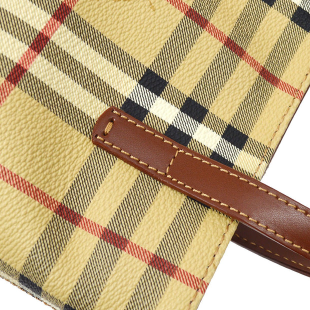 BURBERRY Horse Check Hand Bag Beige