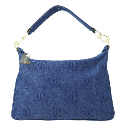 CHANEL Plastic Chain Hand Bag Indigo Denim