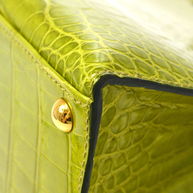HERMES DALVY 26 Hand Bag Light Green Porosus Crocodile Skin