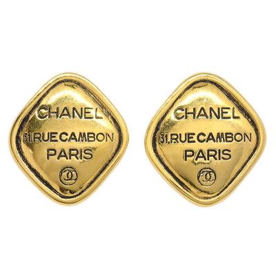 CHANEL Rhombus Earrings Gold Clip-On 2439