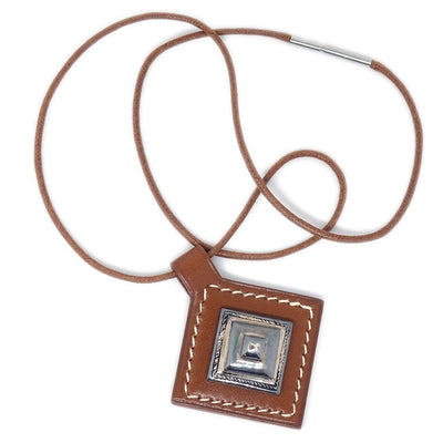 HERMES Touareg Pendant Necklace Leather Brown