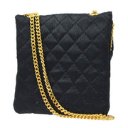 CHANEL Chain Mini Shoulder Necklace Pochette Pouch Black Satin