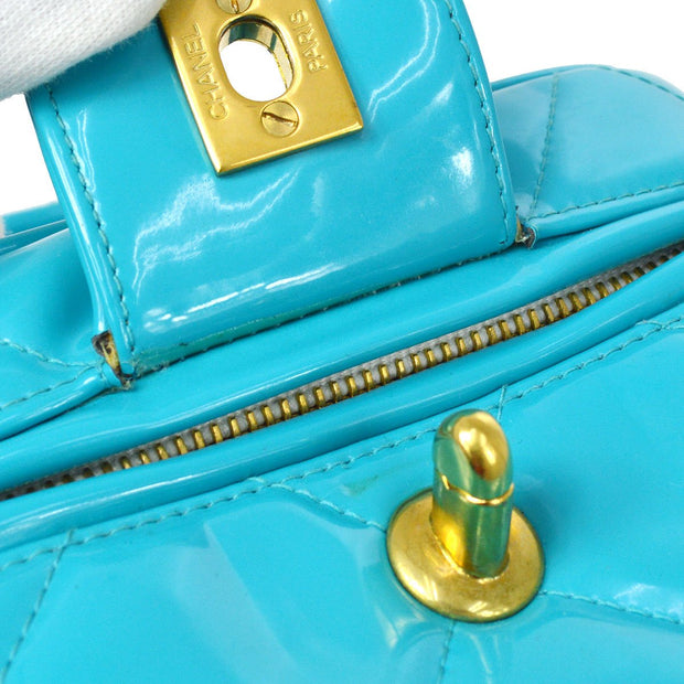 CHANEL Vanity Hand Bag Light Blue Patent Leather