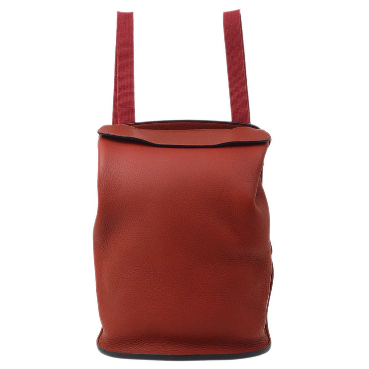 HERMES Sherpa PM Backpack Bag Rouge Vif Taurillon Clemence