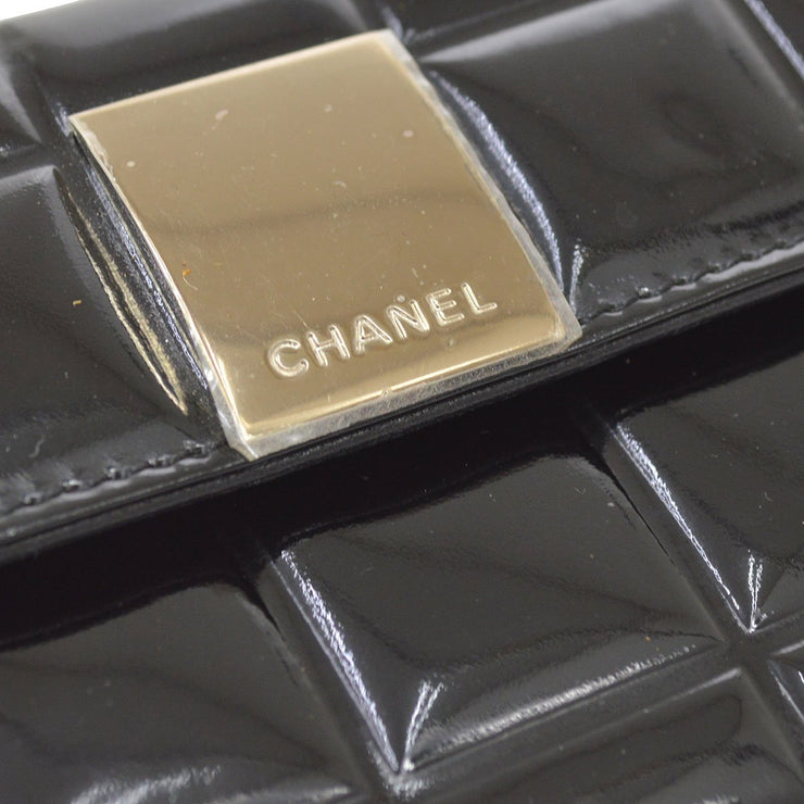 CHANEL Choco Bar Coin Purse Wallet Black Patent Leather