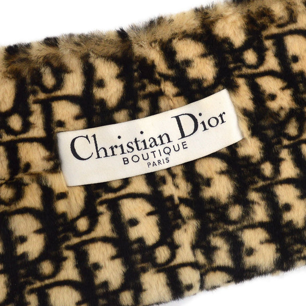Christian Dior Trotter Pattern Muffler Stall Brown Beige Fur Small Good