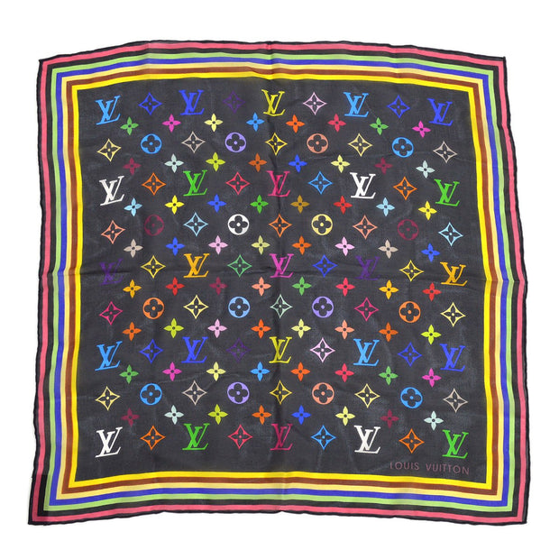 LOUIS VUITTON MONOGRAM SCARF HANDKERCHIEF MULTI COLOR BLACK Small Good