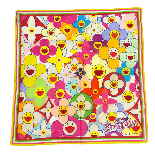 LOUIS VUITTON COSMIC BLOSSOM BANDANA SCARF STOLE M72543 MULTICOLOR Small Good