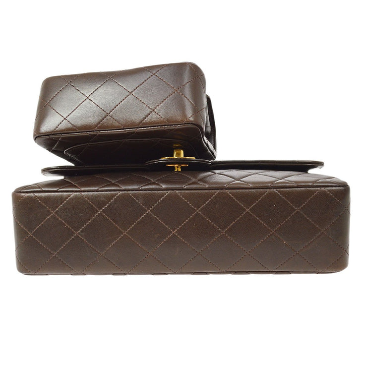 CHANEL 2 in 1 Hand Bag Set Dark Brown