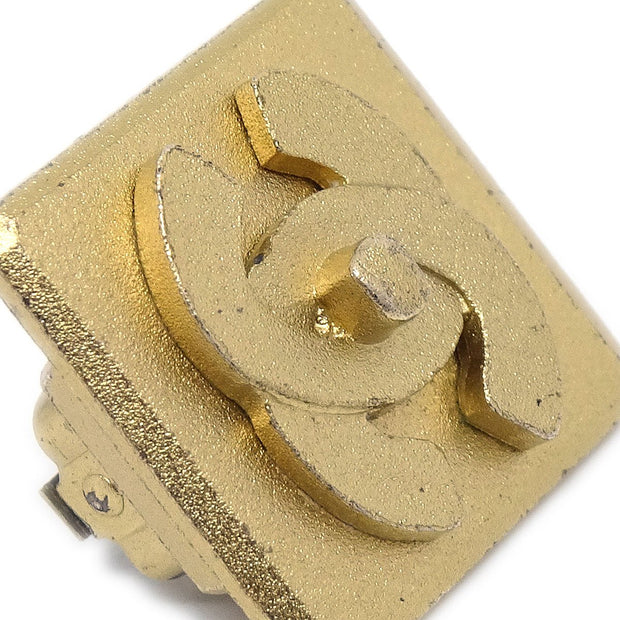 CHANEL Square Turnlock Earrings Clip-On Gold 02A