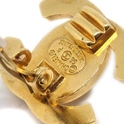 CHANEL Turnlock Earrings Clip-On Gold 96P