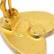 CHANEL Heart Earrings Clip-On Gold 95P