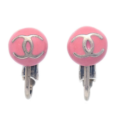 CHANEL Micro Button Earrings Pink Clip-On 03C