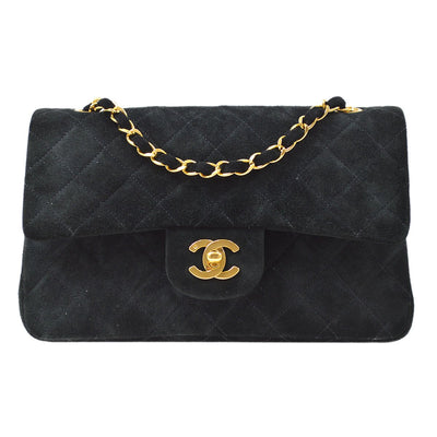 CHANEL Classic Double Flap Small Chain Shoulder Bag Black Suede