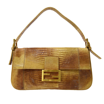 FENDI Mamma Baguette Hand Bag Brown Lizard