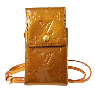 LOUIS VUITTON VERNIS GREEN CIGARETTE SHOULDER POUCH BRONZE N91156