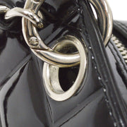 CHANEL Choco Bar Chain Hand Tote Bag Black Patent Leather