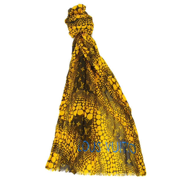 LOUIS VUITTON KUSAMA YAYOI Monogram Waves Infinity Pareo Stole Yellow