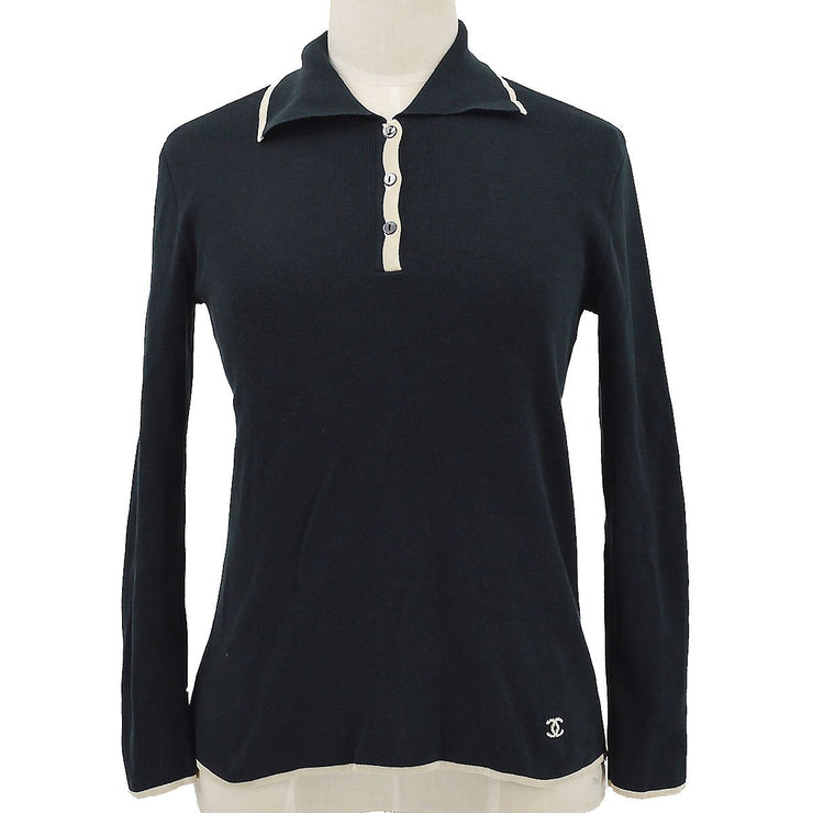 CHANEL 05P #34 Long Sleep Polo Shirt Black