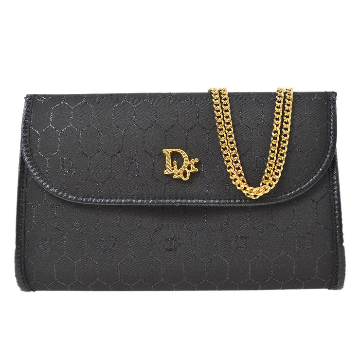 Christian Dior Honeycomb Double Chain Shoulder Bag Black