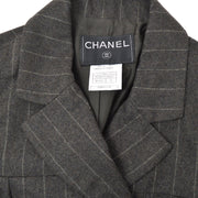 CHANEL 99A #36 Long Coat Stripe Gray