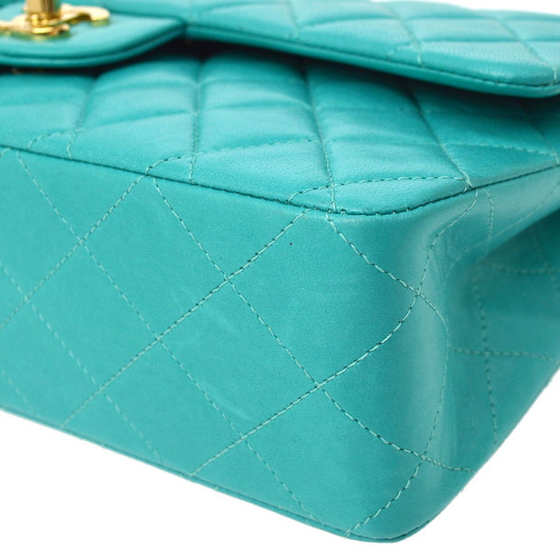 CHANEL Classic Double Flap Medium Chain Shoulder Bag Turquoise Blue