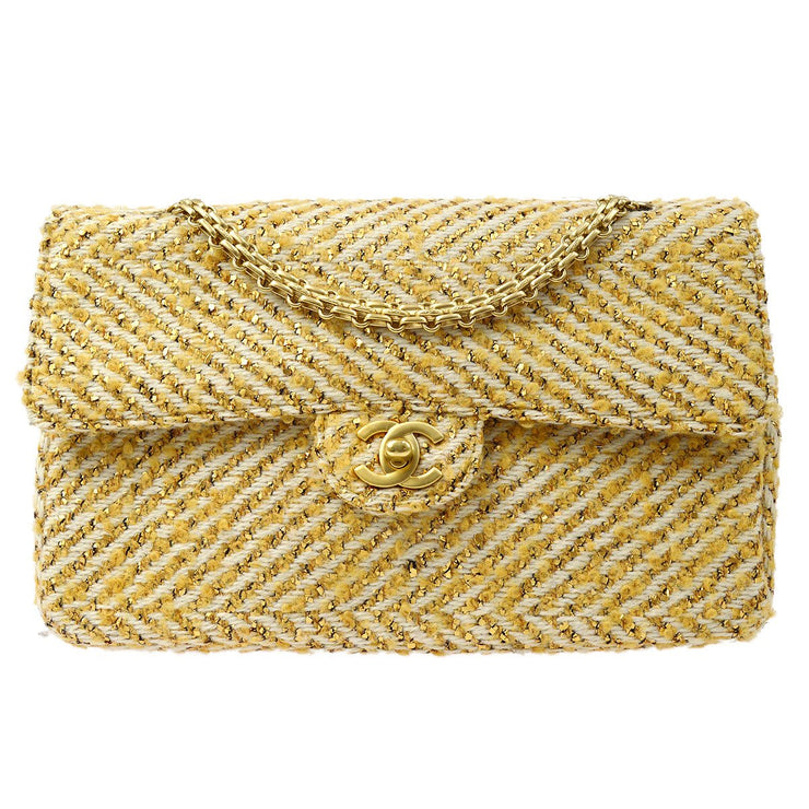 CHANEL Classic Double Flap Medium Chain Shoulder Bag Beige White Tweed