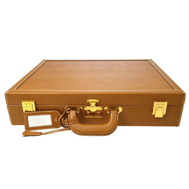 HERMES Attache Case Trunk Hand Bag Hard Case Brown Couchevel