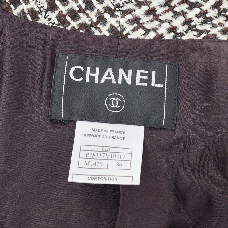 CHANEL 01A #36 Tweed Jacket Brown White