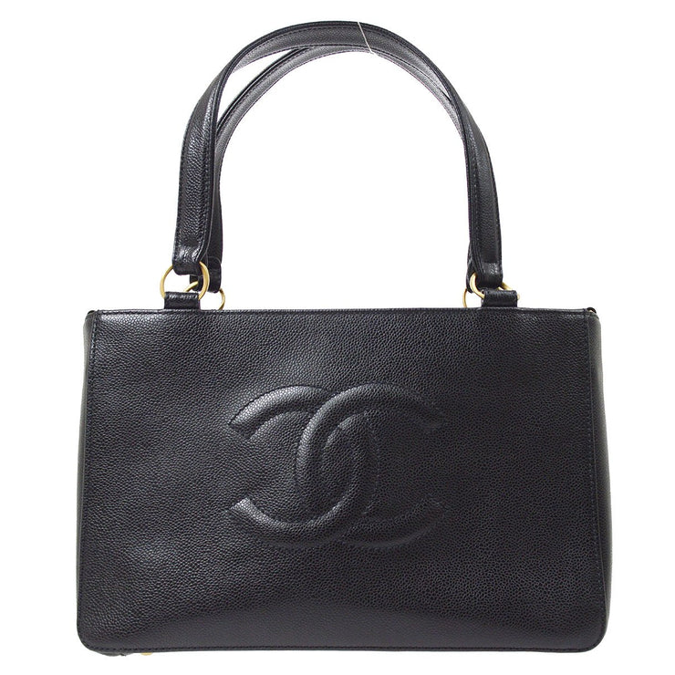 CHANEL 2way Hand Tote Shoulder Bag Black Caviar Skin