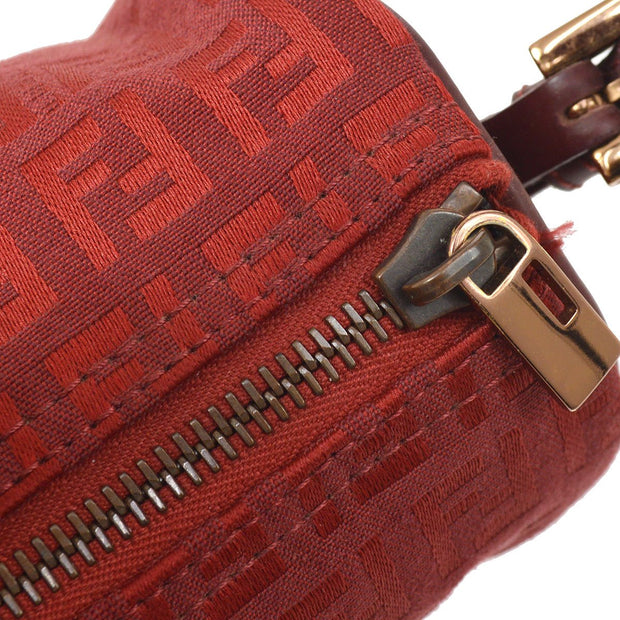FENDI Zucchino Pattern Cylindrical Mini Hand Bag Red