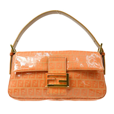 FENDI Zucchino Mamma Baguette Hand Bag Orange Vinyl