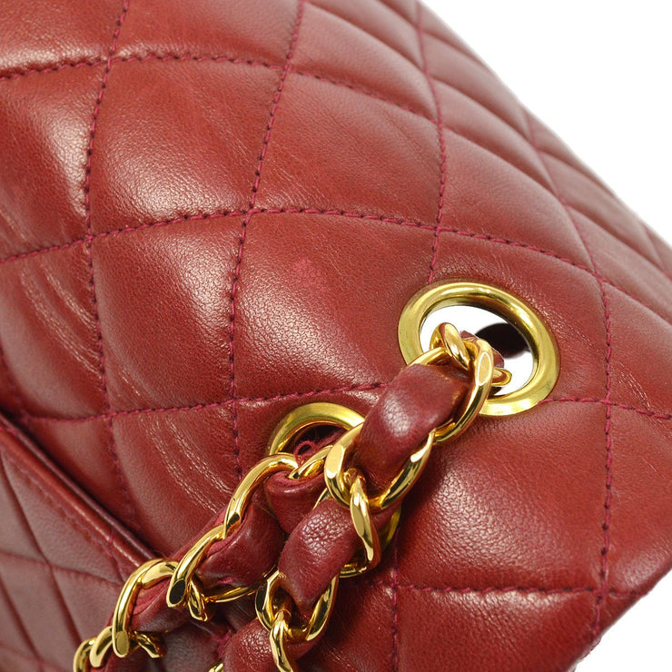 CHANEL Classic Double Flap Small Chain Shoulder Bag Red