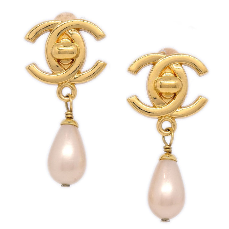 CHANEL Turnlock Imitation Pearl Shaking Earrings Clip-On Gold 96A