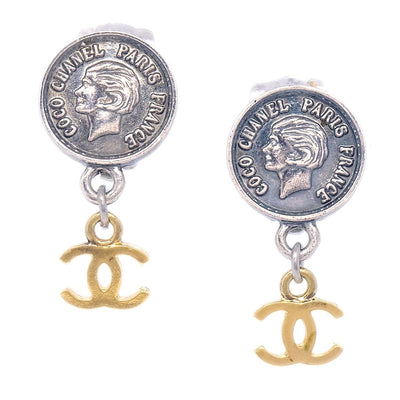 CHANEL Shaking Earrings Clip-On Gold Silver 96P