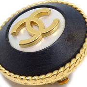 CHANEL Button Earrings Gold Black Clip-On 95A