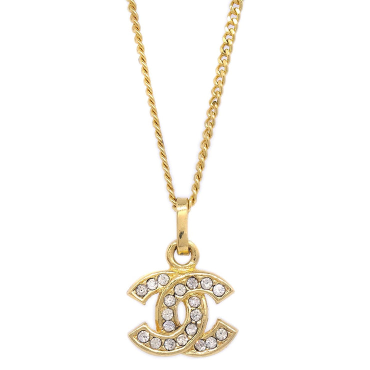 CHANEL CC Rhinestone Gold Chain Pendant Necklace 3311 1982