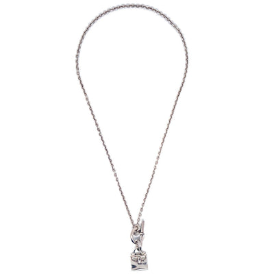 HERMES Kelly Bag Silver Chain Necklace