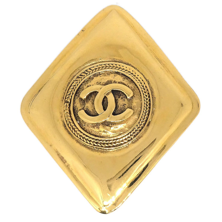 CHANEL Rhombus Brooch Pin Corsage Gold 1134