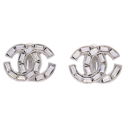 CHANEL CC Rhinestone Earrings Clip-On Silver 01P