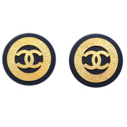 CHANEL Huge Button Earrings Black Gold Clip-On 93P