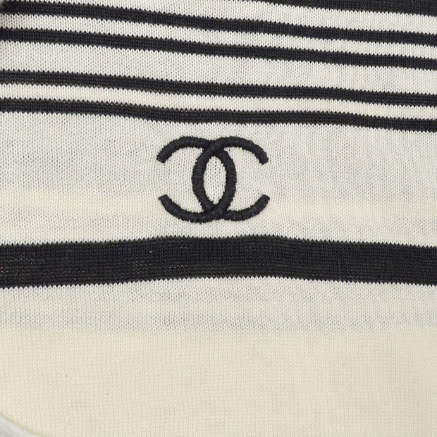 CHANEL 98P #40 Striped Sleeveless Tops Black White